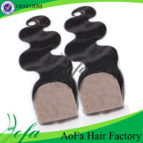 Fermeture de lacet d'Iidian de cheveu de vente chaud de Vierge/cheveux humains