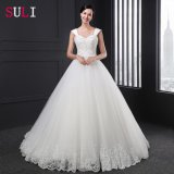 Ball Gown Lace up Lace V-Neck Beading Wedding Dress (Z-001)