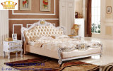 Mobilia di cuoio italiana reale antica del re Size Wooden Soft Bedroom