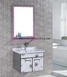 Gabinete de banheiro pequeno do aço inoxidável do estilo com espelho e bacia