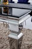 Tableau moderne d'acier inoxydable avec le dessus en verre pour la salle à manger