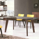 Veneer Solid Wood Leg (A294)를 가진 대리석 Top Dining Table