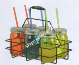 Handleの480ml Glass JarおよびMetal LidsおよびStraw