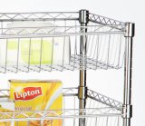 Houseware stupéfiant 3-Tier Chrome Powder Coated Wire Rack 4 Baskets Shelf Trolley (600*350*1200 millimètres)