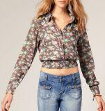 Chemise et chemisier en gros chauds de fille de Custon de tissu de coton d'impression de mode