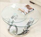現代2つの上ガラスは機能コーヒーテーブルを回す