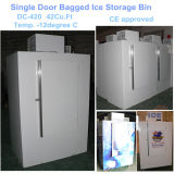 単一の固体125bags氷のためのドアによって袋に入れられる氷の収納用の箱
