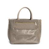 ブラウンの革女性革ハンドバッグ