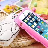Accesorio del teléfono celular de la forma del iPhone del gato de silicona caso de teléfono
