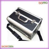 Negro Matt PU Aluminio Piel Maquillaje Estuche de viaje (SACMC089A)