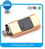 最も安い64GB押しは携帯電話のための1台のOTG USBのフラッシュ駆動機構に付き3台を引っ張り、