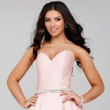 De Partij van de Beroemdheid van de kralenversiering kleedt de Roze Avondjurken C2771 van het Satijn