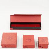 Caixa de presente vermelha do cartão do papel do luxuoso de veludo para a jóia (J63-E1)