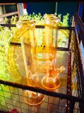 El vidrio azul de cristal del cenicero del arte del tazón de fuente alto del color del reciclador del tabaco del fabricante de la corona transmite el tubo de agua de cristal de la burbuja embriagadora del cubilete