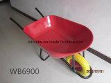 튼튼한 빨간 쟁반 PU 양식 바퀴 외바퀴 손수레 (Wb6900)
