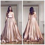 Champagne perle la robe de mariage de taffetas (WDQH015)