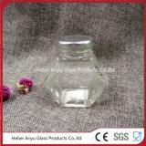 De hexagonale Kruik van het Glas voor Suikergoed met Zilveren Blik GLB