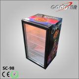 平底の上の開いたガラスドアのびんのクーラー(SC98)