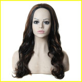 Forma Europa e perucas onduladas pretas de 3/4 de Synthetic das mulheres de América