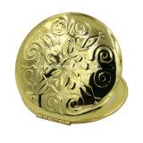 Золотистое круглое алюминиевое косметическое зеркало