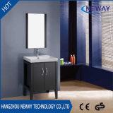 Vanité de salle de bain personnalisée à usage professionnel en bois au sol avec miroir