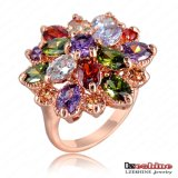 Multicolor Cubic Zirconia Flower Women Wedding Ring (Ri-Hq0365-B)