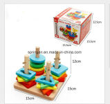 Игрушка интеллигентки игрушек DIY геометрической формы деревянная