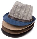 Fedora básico de couro do papel de palha da faixa