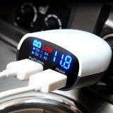 中国の高品質のLED表示電圧および現在の二重USB車の電話充電器