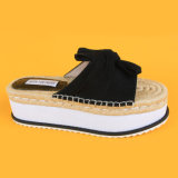 2017 bereift die neueste schwarze Veloursleder-Dame-Pumpe EVA-alleinige flache Frauen-beiläufigen Schuh