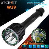 Archon W39 LEDの懐中電燈の最大3000の内腔の潜水の懐中電燈