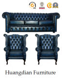 Klassische Entwurfs-Taste heftete sich das lederne eingestellte Chesterfield-Sofa durch (HD539)