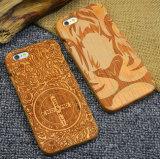 Caso de madeira real da tampa do telefone de pilha da alta qualidade feita sob encomenda para o iPhone 6/6s Sakuragi que cinzela o caso móvel