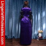 Kostüm deluxes der Frauen purpurrotes der Samt-Kleid-gemeines Königin-Cosplay mit Brokat-Druck