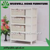 Gabinete de armazenamento de madeira da sala de visitas com gaveta do Rattan (W-CB-426)