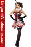 Korsett-Mieder-Kleid-Zirkus-Spaßvogel-Kostüm der frechen Frauen Checkered trägerloses