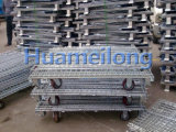 足車が付いている金網パレットケージをスタックする中国