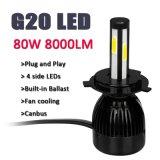 La mejor luz auto H4 H7 H11 H13 del coche de la linterna 12V 24V LED de la linterna 80W 8000lm de la calidad G20 LED