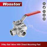 Vávula de bola de las maneras de CF8m tres con el postizo de montaje ISO5211 Pn64