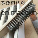 Wirtschaft gebogene Griff-Stahldrahtbürste mit Plastik-oder Holz-Griff
