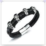 De Juwelen van het Leer van de Armband van het Leer van de Juwelen van het roestvrij staal (LB140)