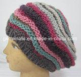 Moda Beret Chapéu de malha Chapéu de tricô manual (Hjb023)