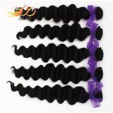 100%のモンゴル人のRemyの毛の織り方の緩く深いバージンの人間の毛髪
