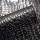 Couro sintético do plutônio do teste padrão preto da pele do crocodilo da cor