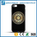 3D caso cristalino cubierto oro de lujo del brillo TPU para el iPhone 7 más