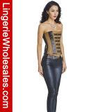 Корсет кожи Faux застежки -молнии Steampunk женщин готский ретро с пряжками
