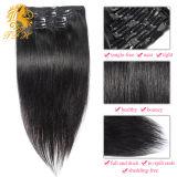 バージンの毛の拡張ペルーのRemyの人間の毛髪クリップ毛の人間の毛髪の拡張倍によって引かれる流行100gクリップのクリップ