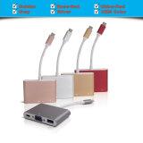 マルチポートUSB Cが付いているUSB-Cのアダプターのアルミ合金、+ 2k VGA (30Hz) + USB 3.1ポート