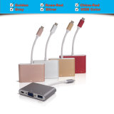 다중 포트 유형 C를 가진 USB 유형 C 접합기 알루미늄 합금, + 2k VGA (30Hz) + USB 3.1 포트