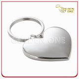 Suporte chapeado da chave do metal do espaço em branco do coração do presente niquelar relativo à promoção
